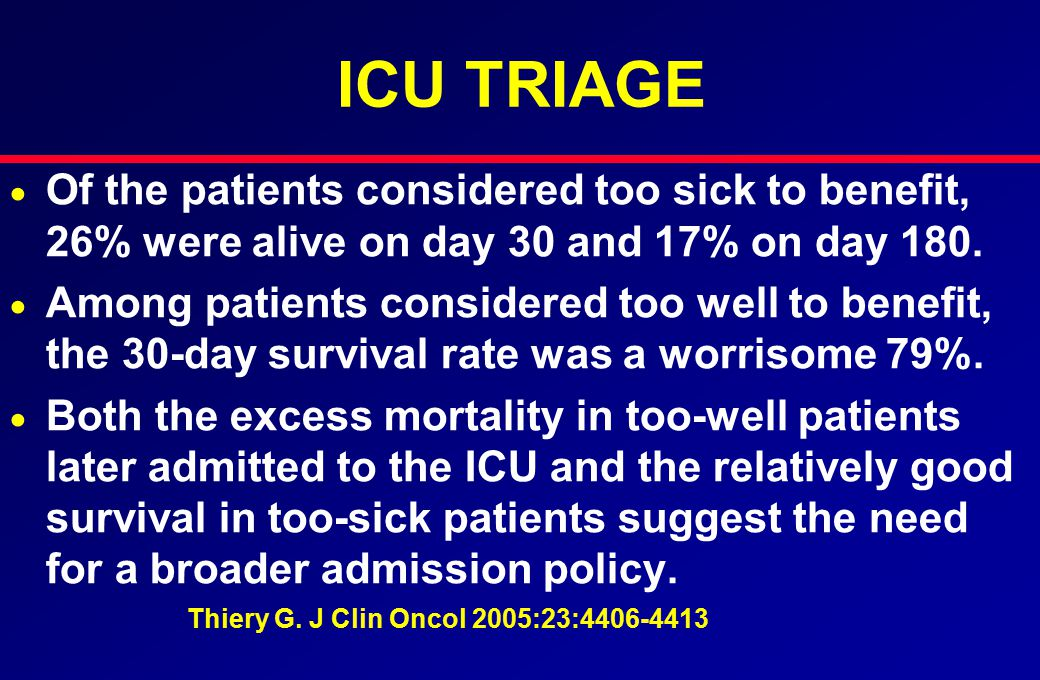 ICU TRIAGE   Of the patients considered too sick to benefit, 26% were alive on day 30 and 17% on day 180.   Among patients considered too well to