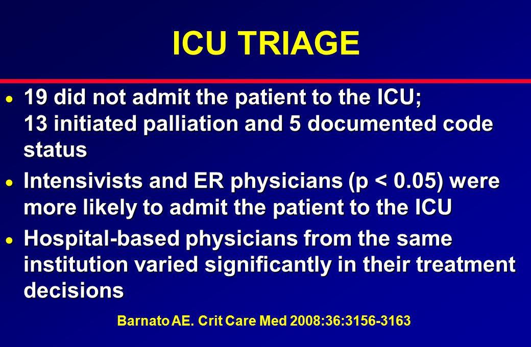 ICU TRIAGE  19 did not admit the patient to the ICU; 13 initiated palliation and 5 documented code status  Intensivists and ER physicians (p < 0.05)