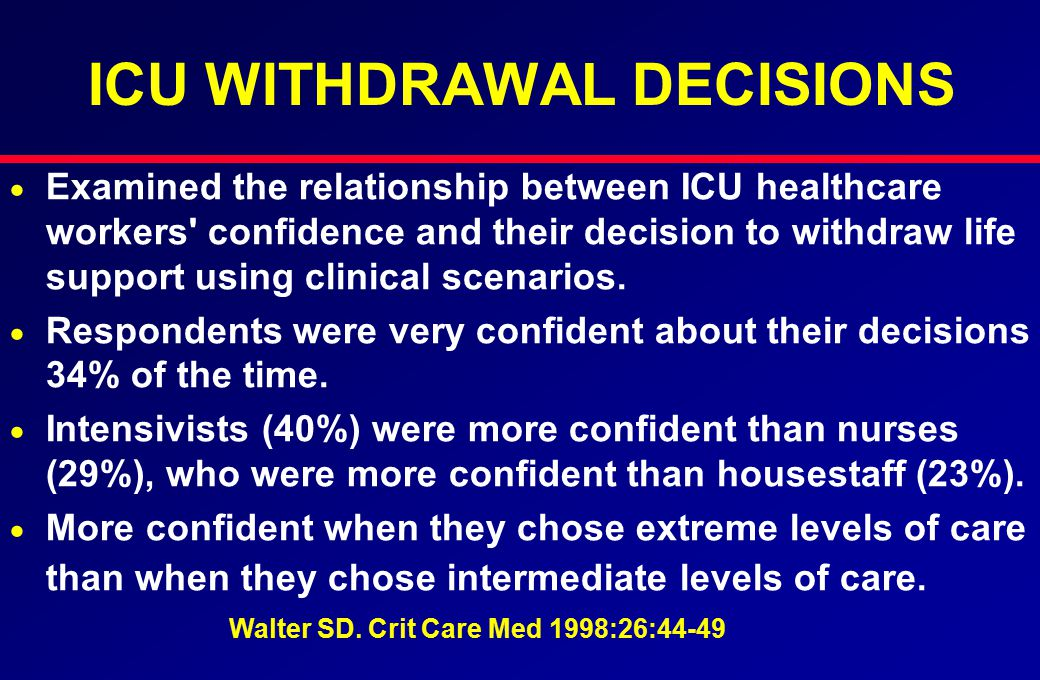 ICU WITHDRAWAL DECISIONS   Examined the relationship between ICU healthcare workers confidence and their decision to withdraw life support using clinical scenarios.