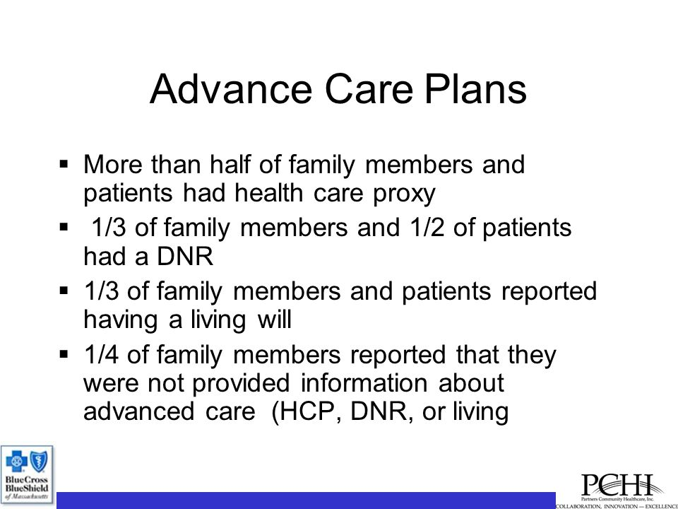 Advance Care Plans  More than half of family members and patients had health care proxy  1/3 of family members and 1/2 of patients had a DNR  1/3 of family members and patients reported having a living will  1/4 of family members reported that they were not provided information about advanced care (HCP, DNR, or living