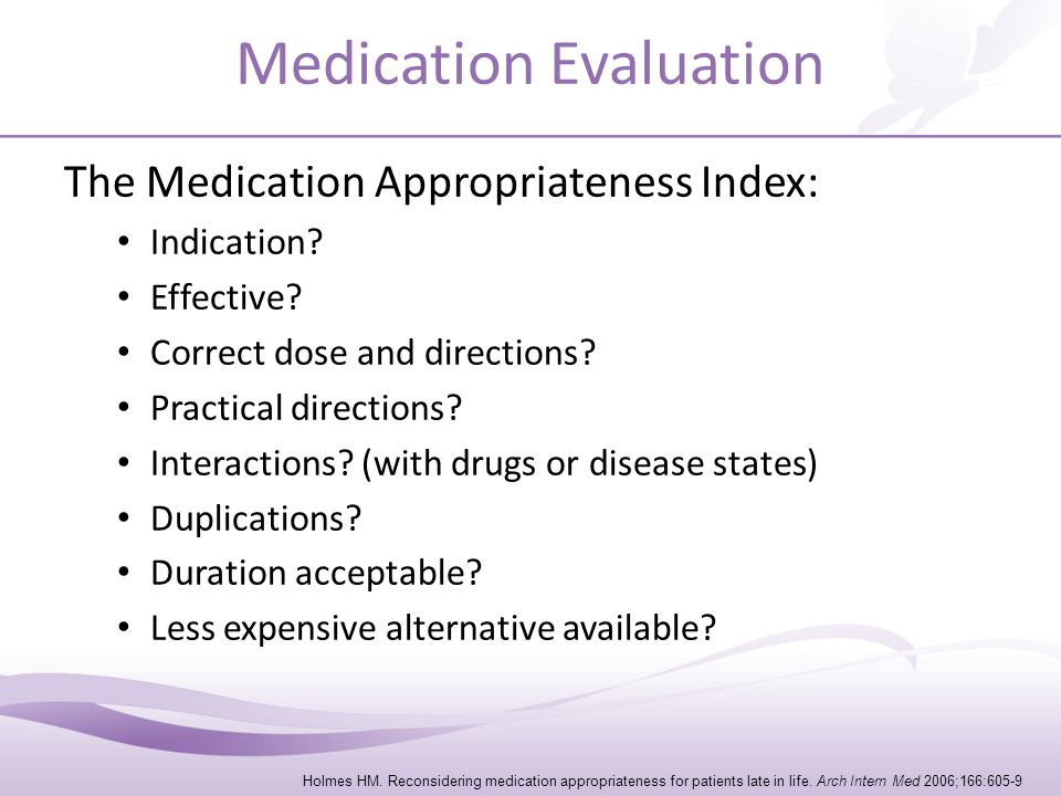 Medications: When to Stop.