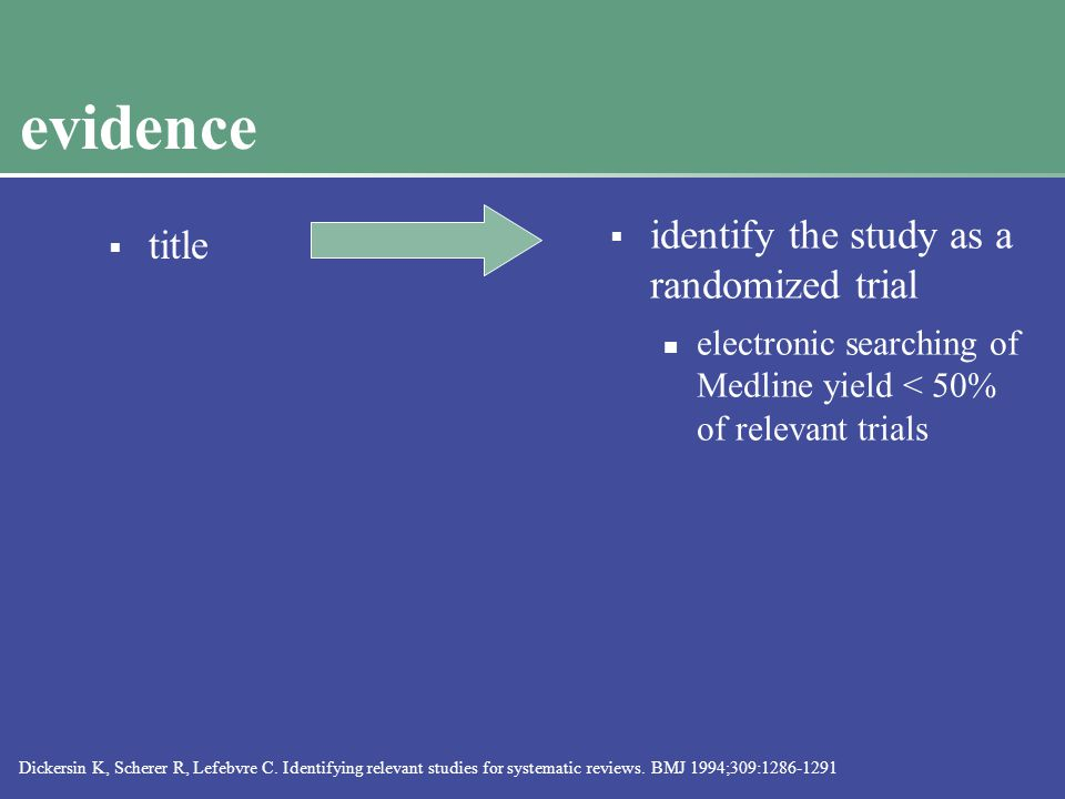 evidence  title  identify the study as a randomized trial electronic searching of Medline yield < 50% of relevant trials Dickersin K, Scherer R, Lefebvre C.