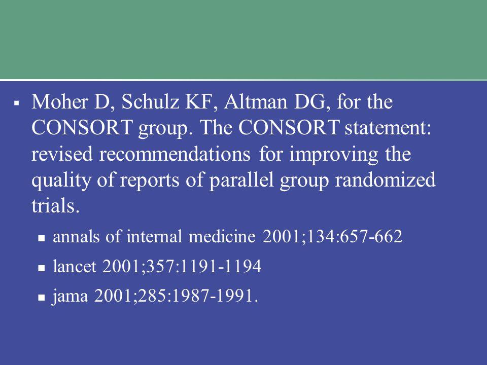  Moher D, Schulz KF, Altman DG, for the CONSORT group.