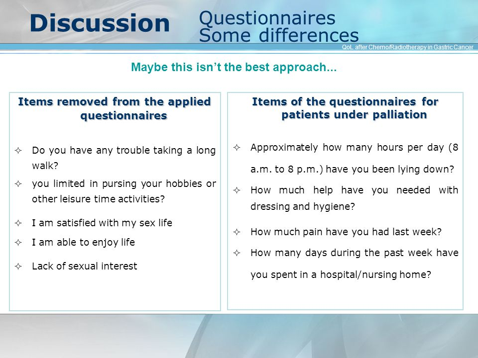 Discussion Items removed from the applied questionnaires  Do you have any trouble taking a long walk.
