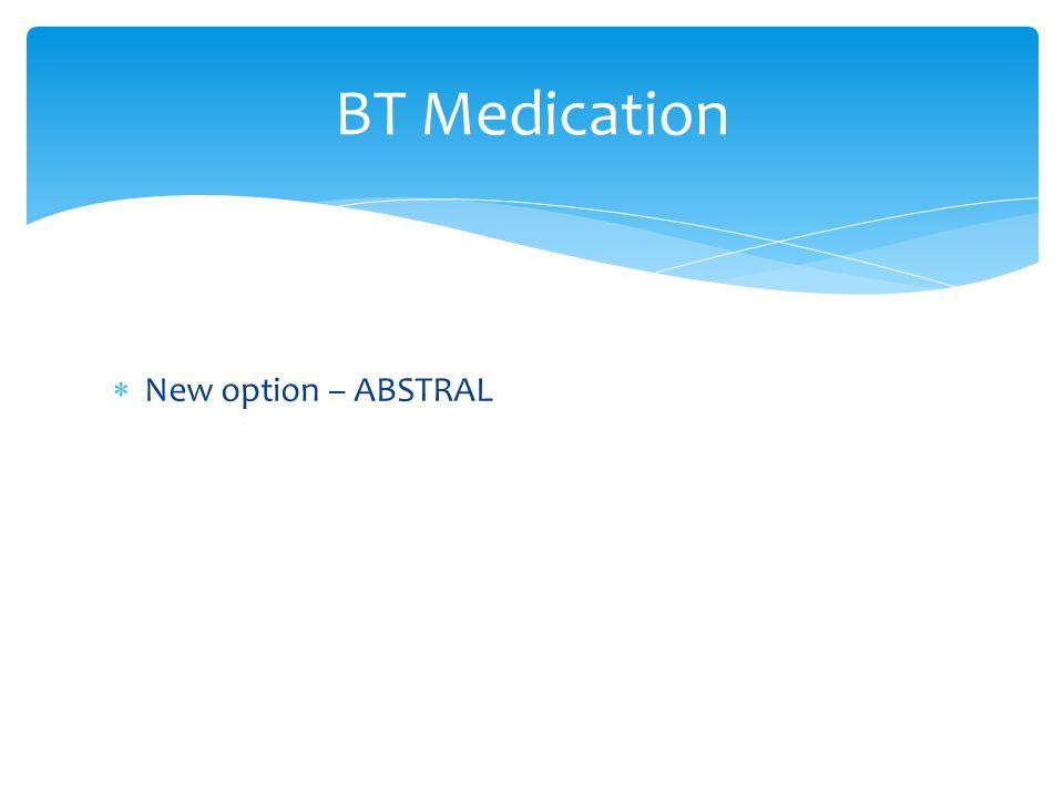  New option – ABSTRAL BT Medication