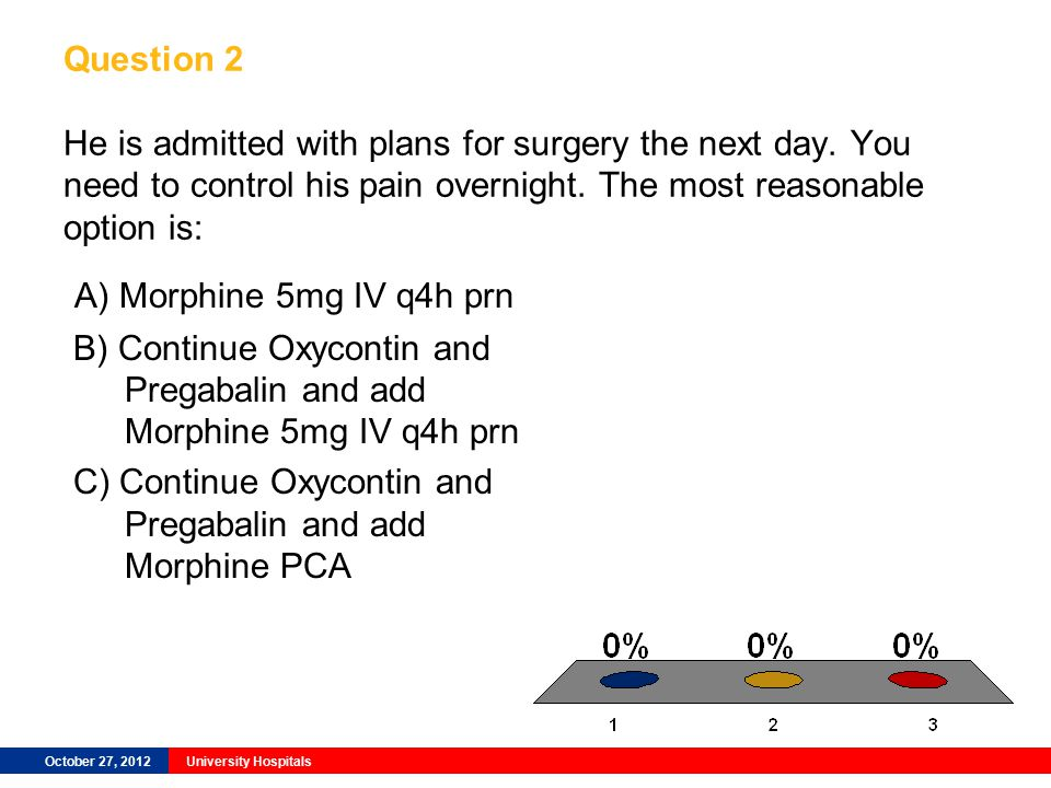 October 27, 2012University Hospitals Question 2 He is admitted with plans for surgery the next day.
