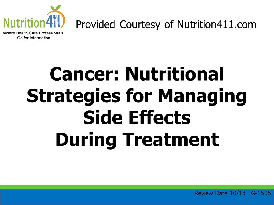 Nutritional Strategies for Nausea/Vomiting Eat small, frequent meals and snacks Try cold foods, ice chips, dry foods, and room-temperature foods Drink liquids between meals to avoid feelings of fullness