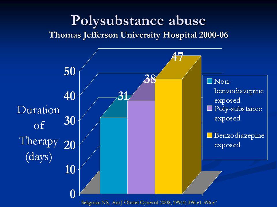 Polysubstance abuse Thomas Jefferson University Hospital 2000-06 Seligman NS,. Am J Obstet Gynecol. 2008; 199(4):396.e1-396.e7
