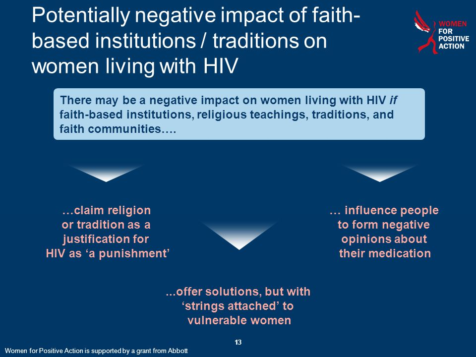 13 Potentially negative impact of faith- based institutions / traditions on women living with HIV 13 There may be a negative impact on women living with HIV if faith-based institutions, religious teachings, traditions, and faith communities….