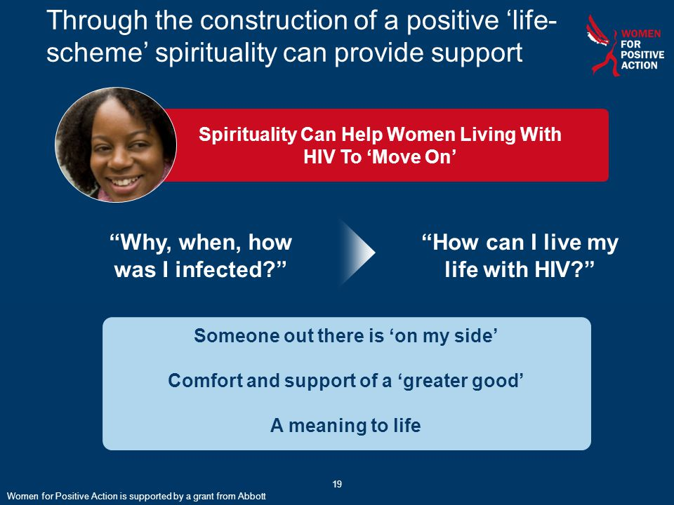 """Spirituality Can Help Women Living With HIV To 'Move On' Through the construction of a positive 'life- scheme' spirituality can provide support """"Why,"""
