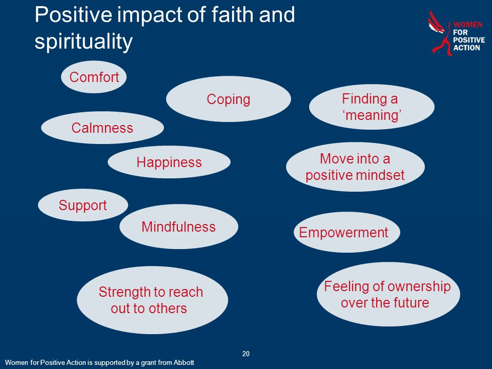 20 Positive impact of faith and spirituality Calmness Feeling of ownership over the future Happiness Support Empowerment Coping Comfort Mindfulness Finding a 'meaning' Strength to reach out to others Move into a positive mindset Women for Positive Action is supported by a grant from Abbott