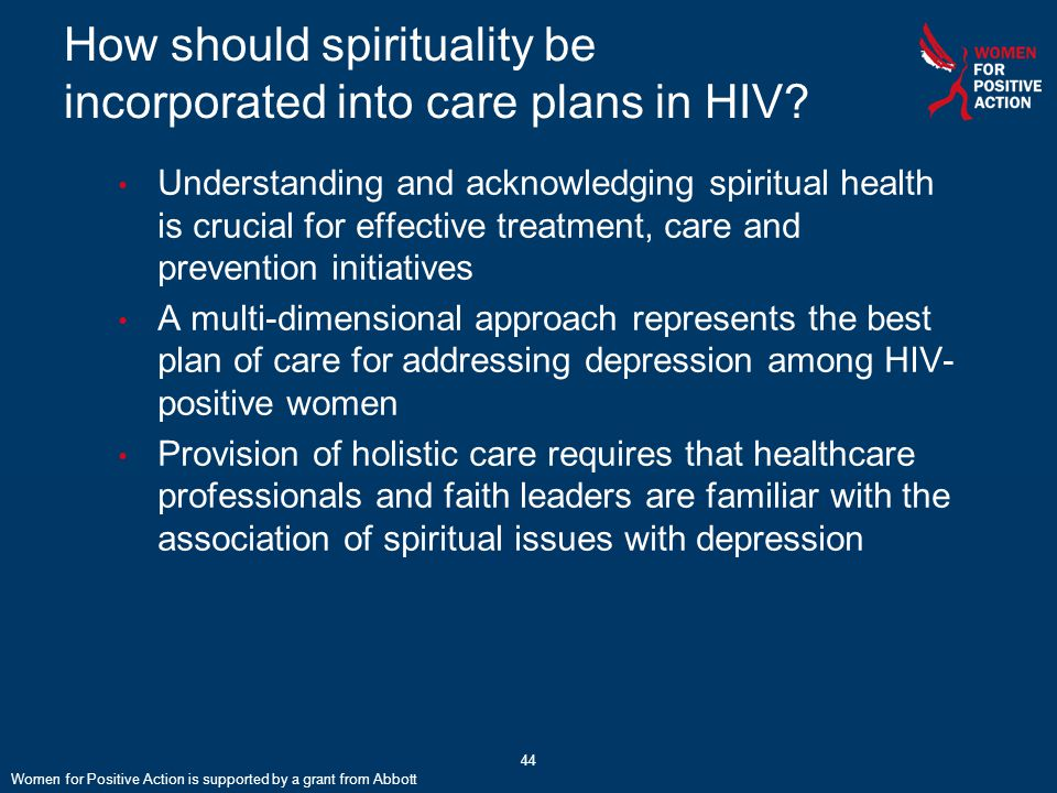 44 How should spirituality be incorporated into care plans in HIV.