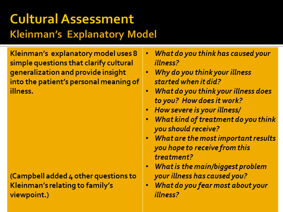 11 Kleinman's explanatory model uses 8 simple questions that clarify cultural generalization and provide insight into the patient's personal meaning o