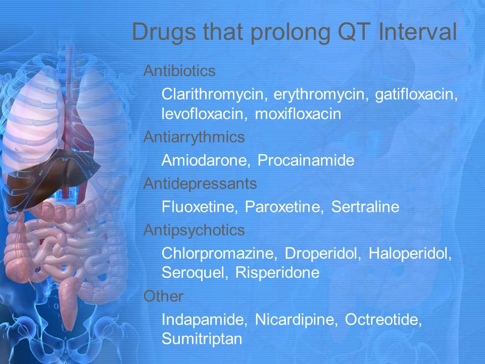 Drugs that prolong QT Interval Antibiotics Clarithromycin, erythromycin, gatifloxacin, levofloxacin, moxifloxacin Antiarrythmics Amiodarone, Procainam