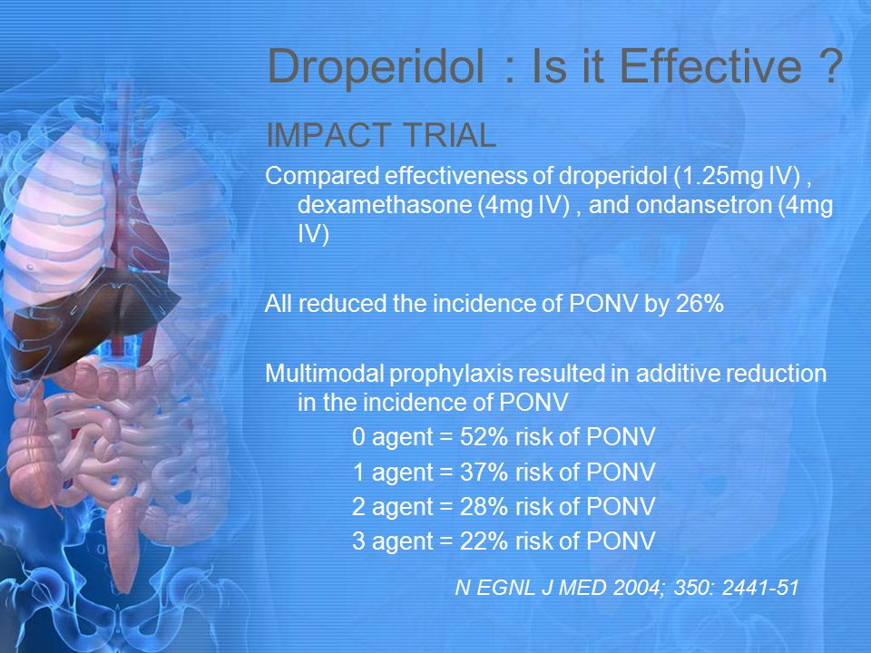 Droperidol : Is it Effective ? IMPACT TRIAL Compared effectiveness of droperidol (1.25mg IV), dexamethasone (4mg IV), and ondansetron (4mg IV) All red