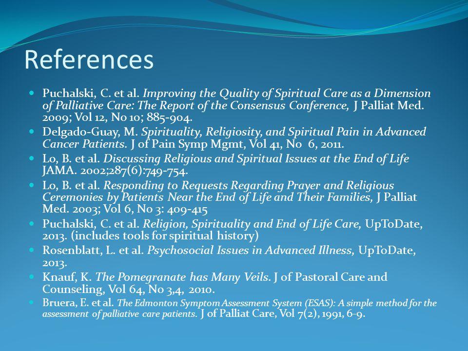 References Puchalski, C. et al.