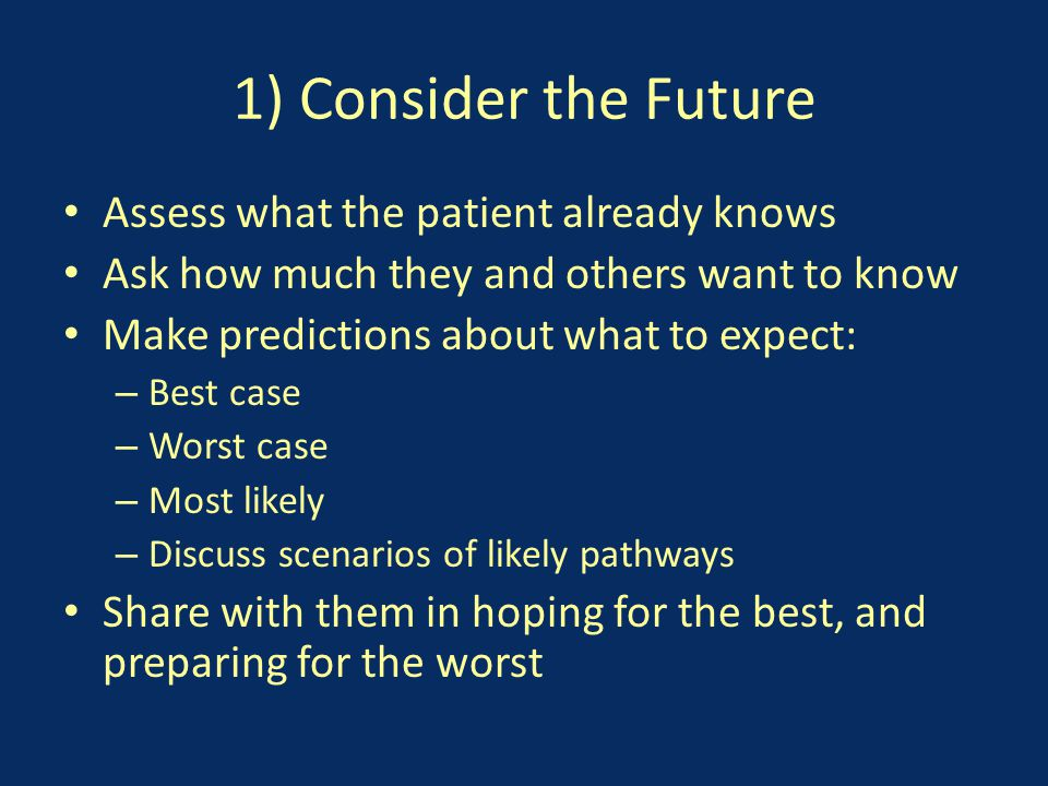 1) Consider the Future Assess what the patient already knows Ask how much they and others want to know Make predictions about what to expect: – Best case – Worst case – Most likely – Discuss scenarios of likely pathways Share with them in hoping for the best, and preparing for the worst