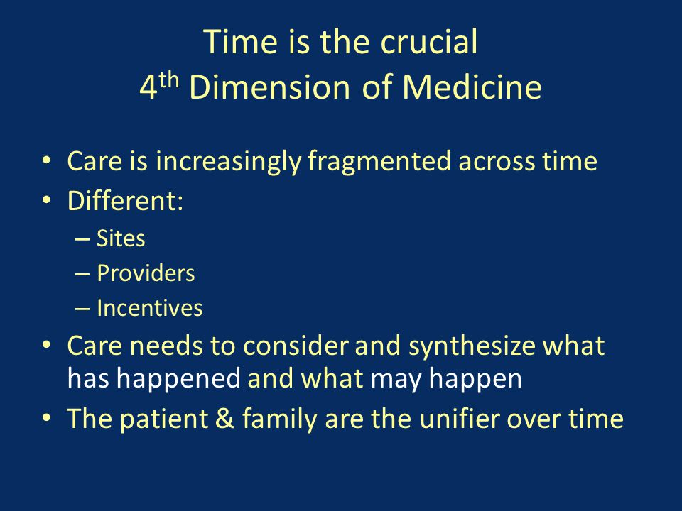 Time is the crucial 4 th Dimension of Medicine Care is increasingly fragmented across time Different: – Sites – Providers – Incentives Care needs to consider and synthesize what has happened and what may happen The patient & family are the unifier over time