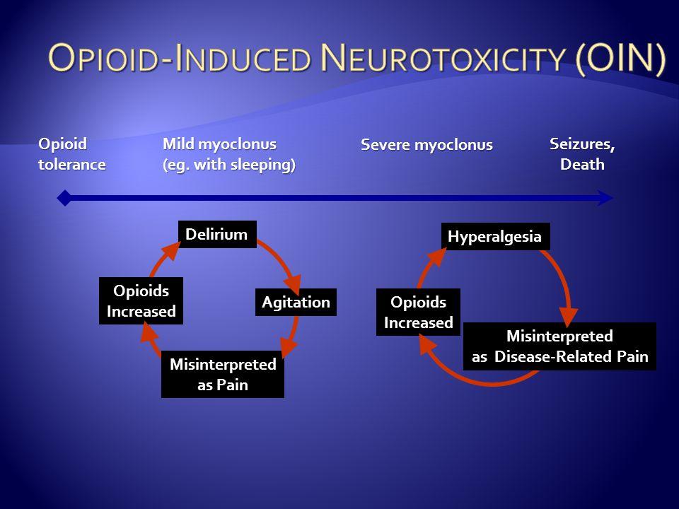 Seizures, Death Opioid tolerance Mild myoclonus (eg.