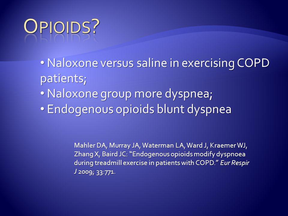 Mahler DA, Murray JA, Waterman LA, Ward J, Kraemer WJ, Zhang X, Baird JC: Endogenous opioids modify dyspnoea during treadmill exercise in patients with COPD. Eur Respir J 2009; 33:771.