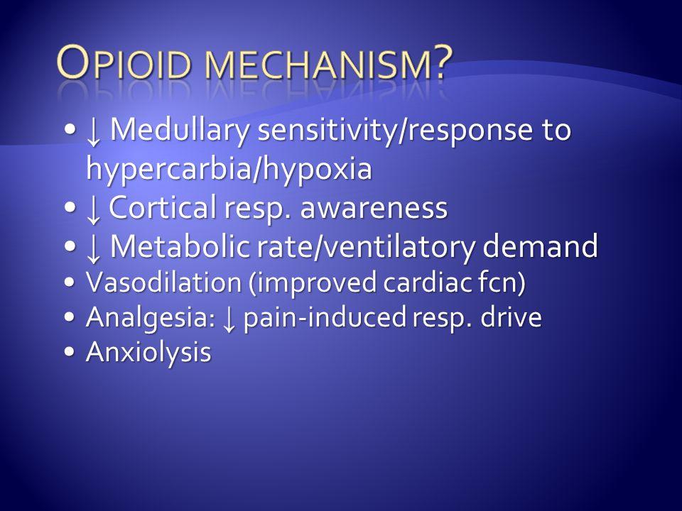 ↓ Medullary sensitivity/response to hypercarbia/hypoxia ↓ Medullary sensitivity/response to hypercarbia/hypoxia ↓ Cortical resp.