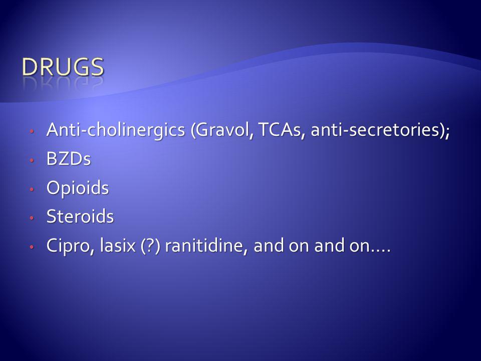 Anti-cholinergics (Gravol, TCAs, anti-secretories); Anti-cholinergics (Gravol, TCAs, anti-secretories); BZDs BZDs Opioids Opioids Steroids Steroids Cipro, lasix (?) ranitidine, and on and on….