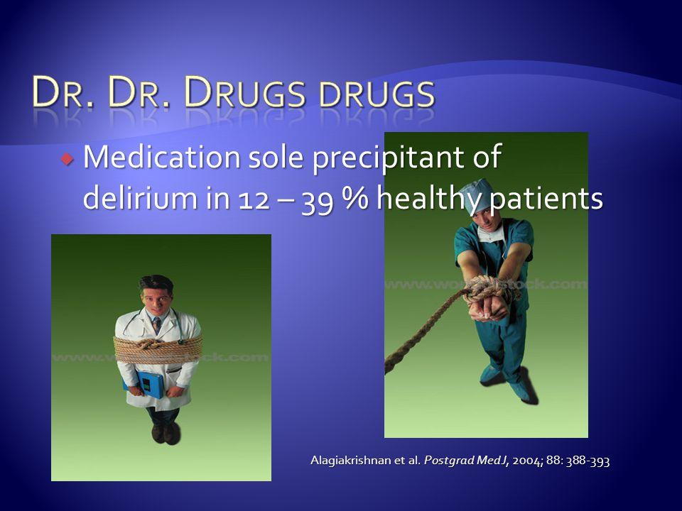  Medication sole precipitant of delirium in 12 – 39 % healthy patients Alagiakrishnan et al.