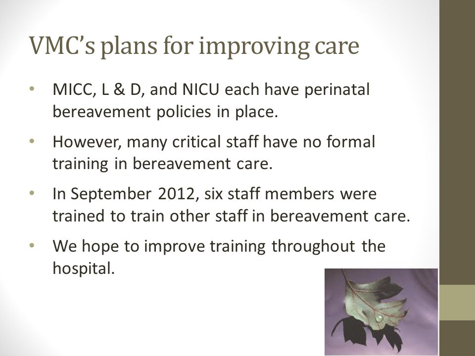 VMC's plans for improving care MICC, L & D, and NICU each have perinatal bereavement policies in place. However, many critical staff have no formal tr