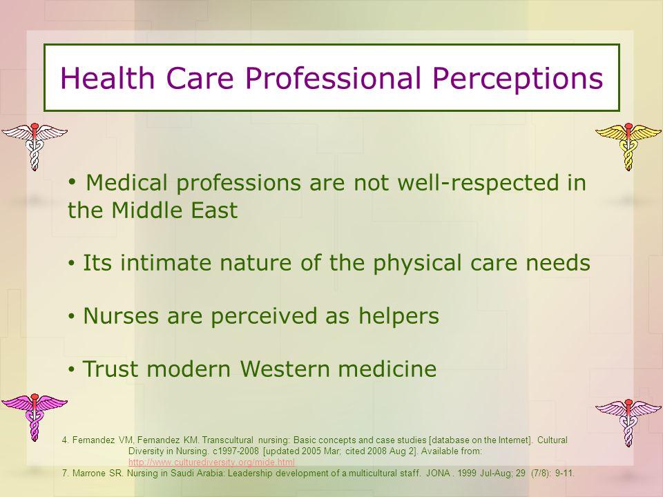 Health Care Professional Perceptions 4. Fernandez VM, Fernandez KM.