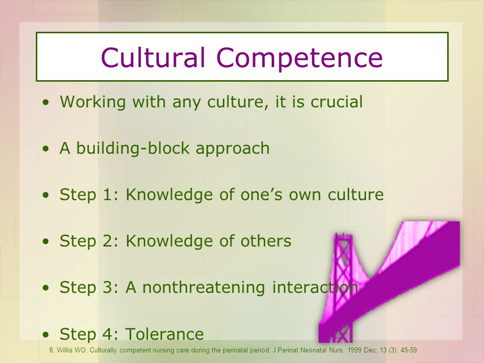 Cultural Competence Working with any culture, it is crucial A building-block approach Step 1: Knowledge of one's own culture Step 2: Knowledge of others Step 3: A nonthreatening interaction Step 4: Tolerance 8.