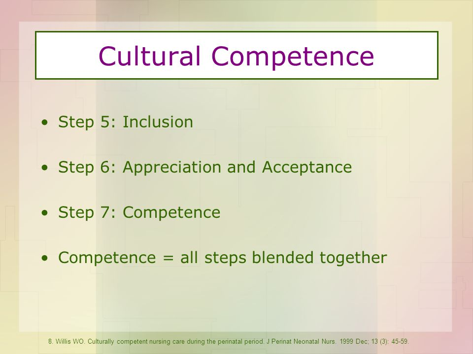 Cultural Competence Step 5: Inclusion Step 6: Appreciation and Acceptance Step 7: Competence Competence = all steps blended together 8.
