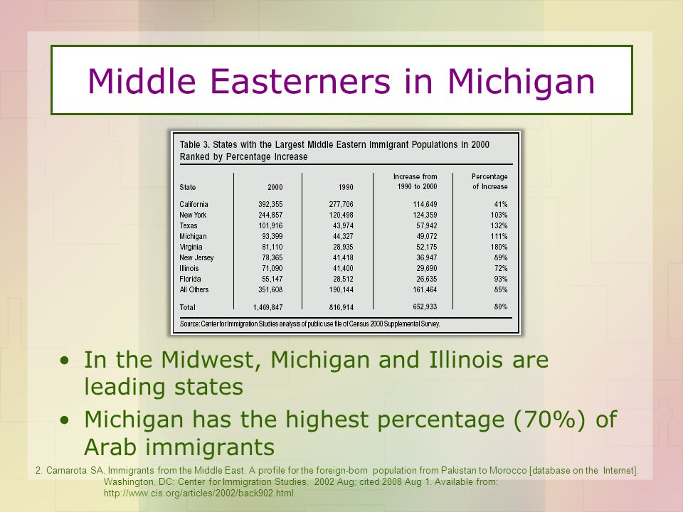 Middle Easterners in Michigan In the Midwest, Michigan and Illinois are leading states Michigan has the highest percentage (70%) of Arab immigrants 2.