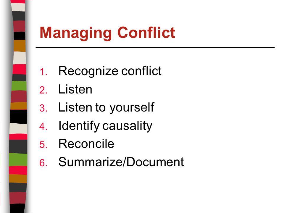Managing Conflict 1. Recognize conflict 2. Listen 3.