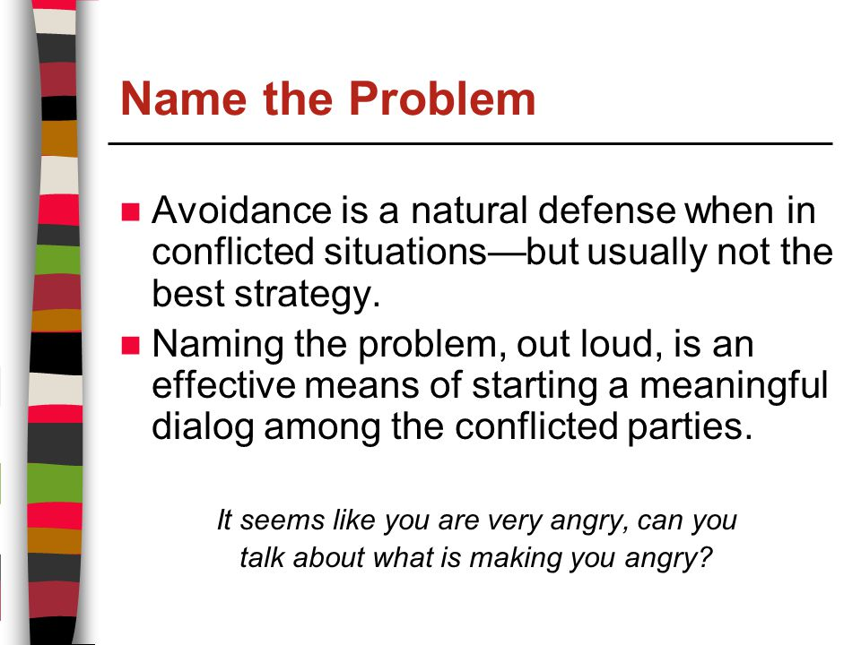 Name the Problem Avoidance is a natural defense when in conflicted situations—but usually not the best strategy.