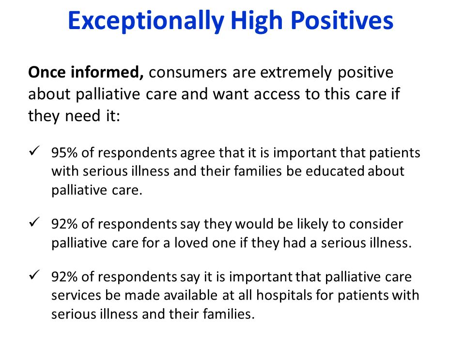 95% of respondents agree that it is important that patients with serious illness and their families be educated about palliative care. 92% of responde