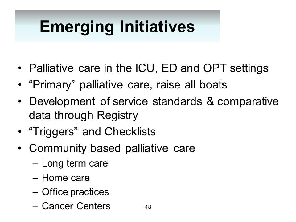 "Emerging Initiatives Palliative care in the ICU, ED and OPT settings ""Primary"" palliative care, raise all boats Development of service standards & com"
