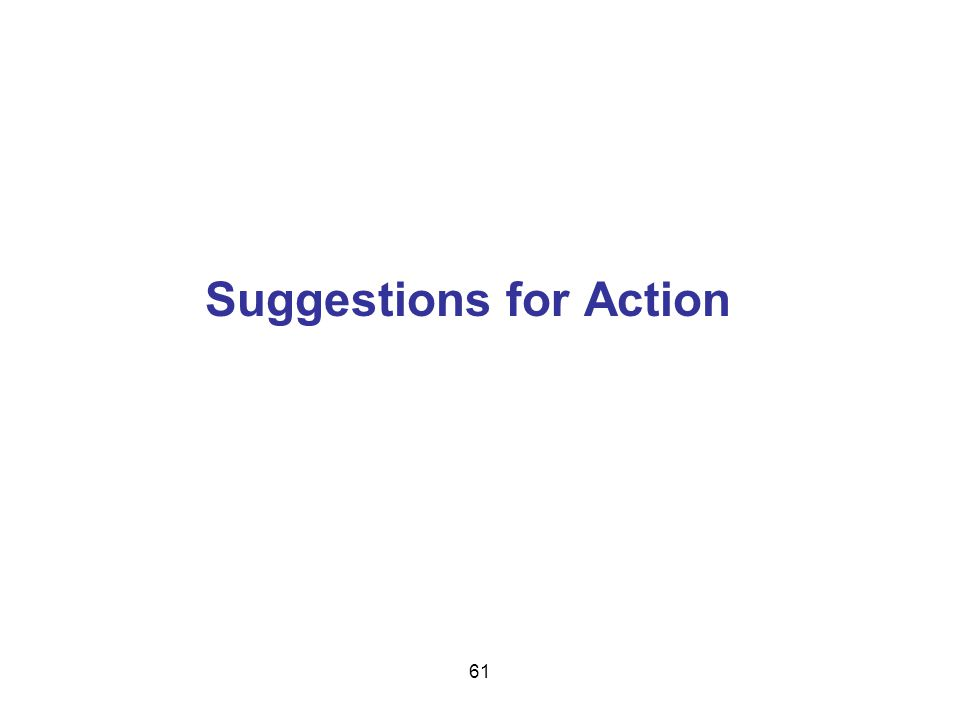 Suggestions for Action 61