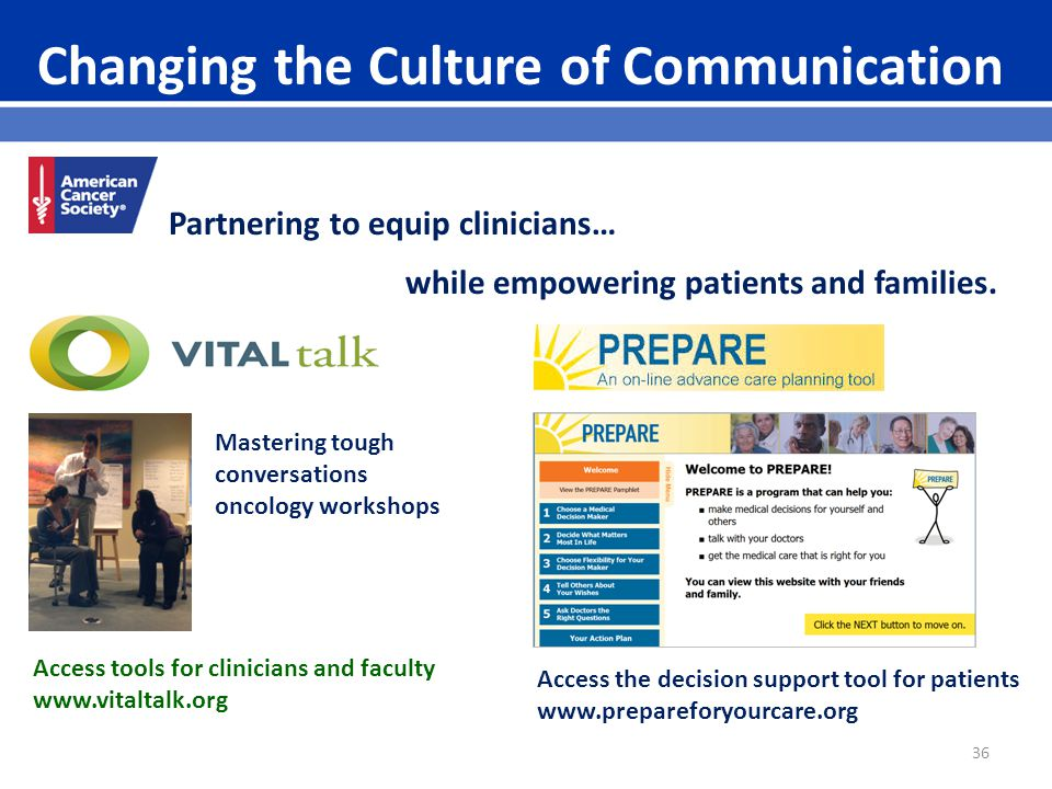 36 Changing the Culture of Communication Mastering tough conversations oncology workshops Partnering to equip clinicians… while empowering patients and families.