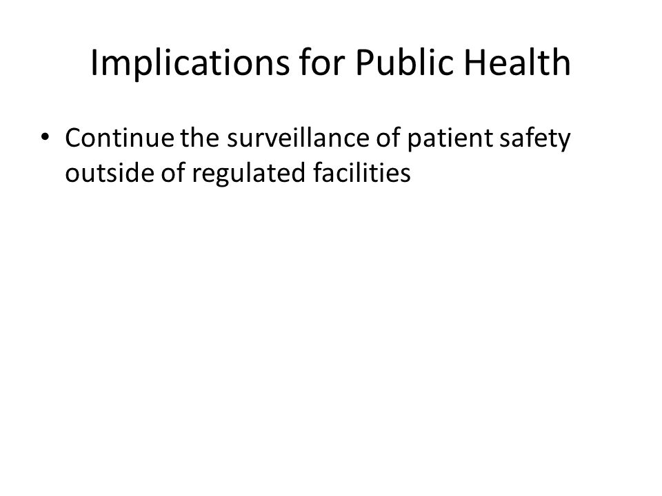 Implications for Public Health Continue the surveillance of patient safety outside of regulated facilities