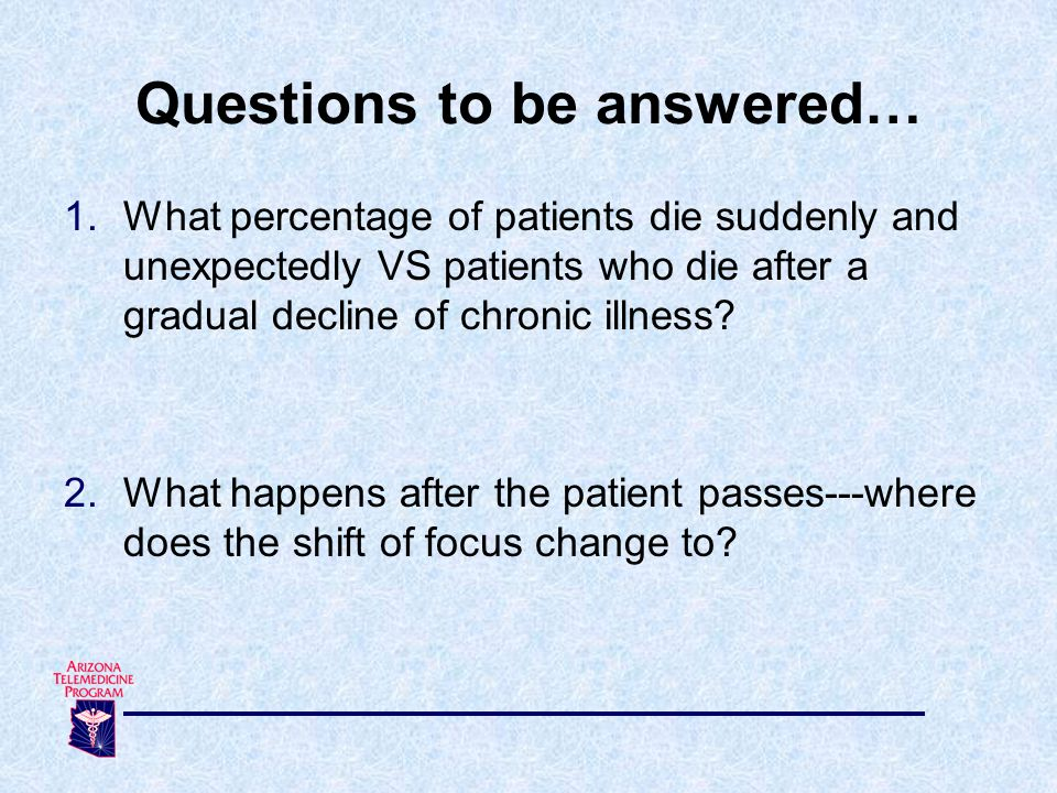1.What percentage of patients die suddenly and unexpectedly VS patients who die after a gradual decline of chronic illness? 2.What happens after the p