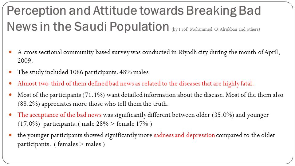 Perception and Attitude towards Breaking Bad News in the Saudi Population (by Prof.