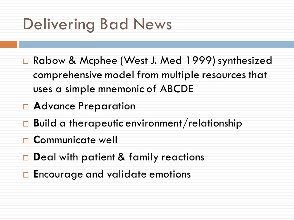 Delivering Bad News  Rabow & Mcphee (West J.