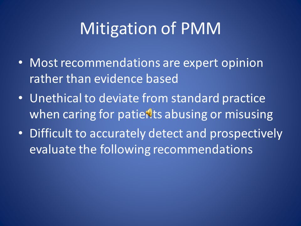 Mitigation of PMM