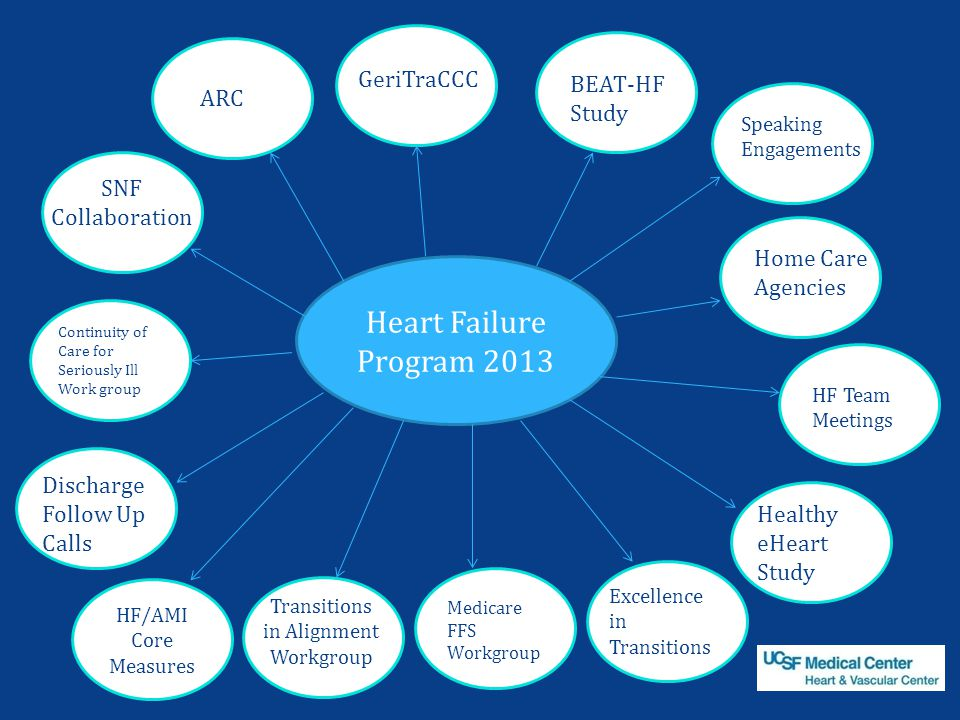 Heart Failure Program 2013 GeriTraCCC BEAT-HF Study SNF Collaboration Continuity of Care for Seriously Ill Work group Discharge Follow Up Calls Medicare FFS Workgroup Excellence in Transitions Healthy eHeart Study Home Care Agencies Transitions in Alignment Workgroup Speaking Engagements ARC HF Team Meetings HF/AMI Core Measures