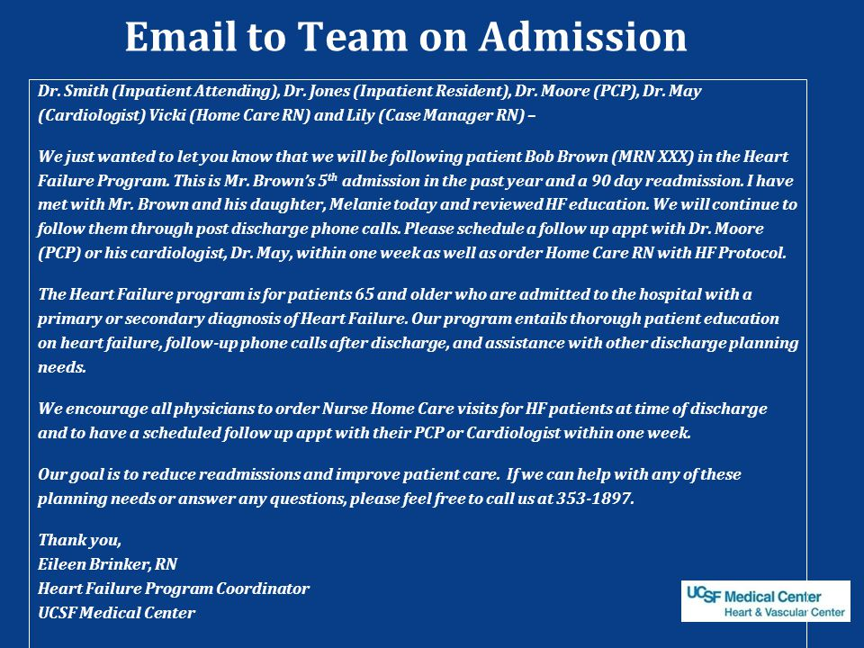 Email to Team on Admission Dr.Smith (Inpatient Attending), Dr.