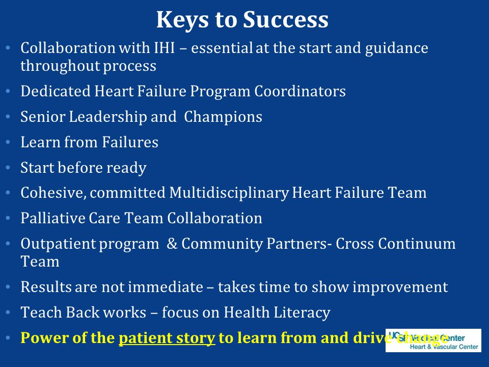 Keys to Success Collaboration with IHI – essential at the start and guidance throughout process Dedicated Heart Failure Program Coordinators Senior Le
