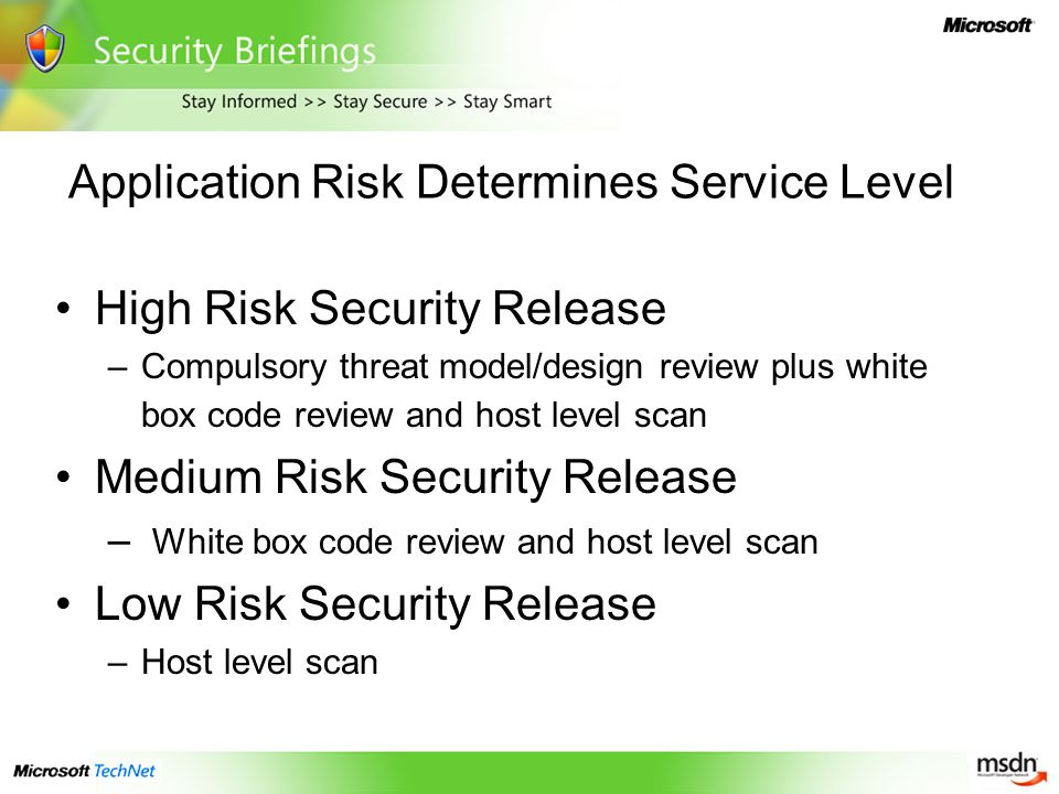Application Risk Determines Service Level High Risk Security Release –Compulsory threat model/design review plus white box code review and host level scan Medium Risk Security Release – White box code review and host level scan Low Risk Security Release –Host level scan