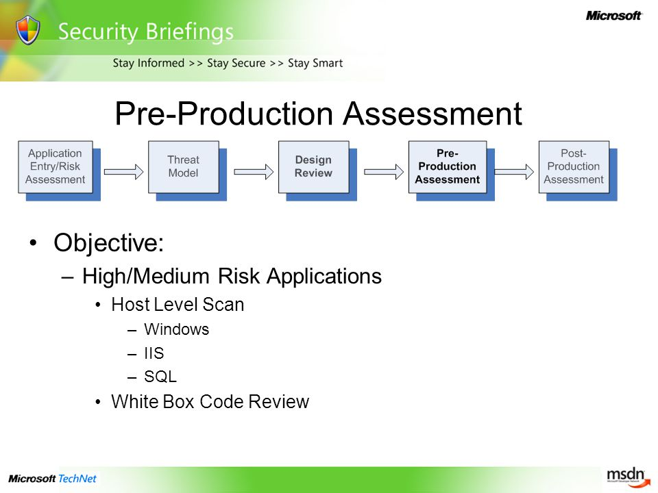 Pre-Production Assessment Objective: –High/Medium Risk Applications Host Level Scan –Windows –IIS –SQL White Box Code Review