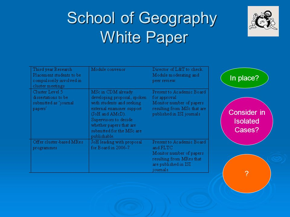 School of Geography White Paper In place Consider in Isolated Cases