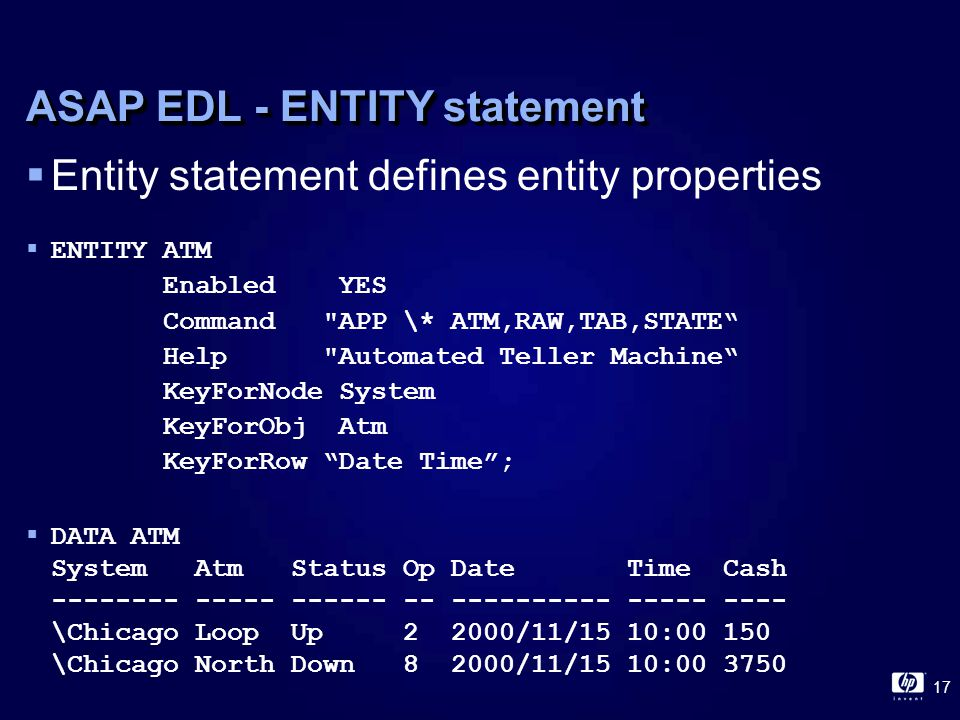 17 ASAP EDL - ENTITY statement  Entity statement defines entity properties  ENTITY ATM Enabled YES Command APP \* ATM,RAW,TAB,STATE Help Automated Teller Machine KeyForNode System KeyForObj Atm KeyForRow Date Time ;  DATA ATM System Atm Status Op Date Time Cash -------- ----- ------ -- ---------- ----- ---- \Chicago Loop Up 2 2000/11/15 10:00 150 \Chicago North Down 8 2000/11/15 10:00 3750